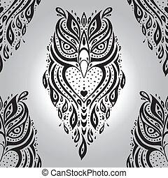 decorativo, owl., pattern., seamless