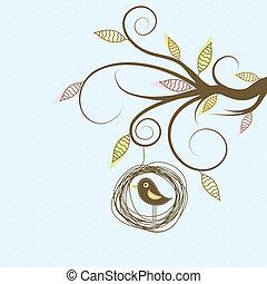 decorativo, pájaro, vector, árbol