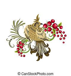 decorativo, pássaro, ramo