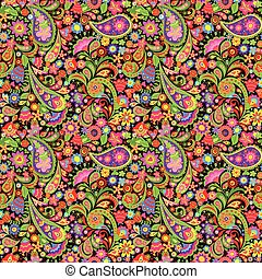 decorativo, paisley, colorito, turco, modello, carta da ...