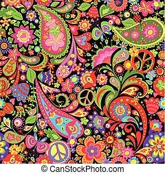 decorativo, paisley, papel parede, hippie, coloridos, símbolo, paz, flores, vívido
