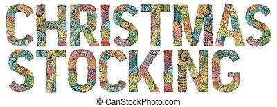 decorativo, palabra, stocking., objeto, vector, zentangle, navidad