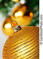decorativo, palla, su, albero., fondo, chiudere, natale