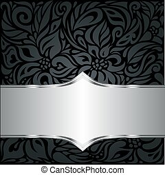 decorativo, &, papel parede, pretas, luxo, fundo, floral, prata