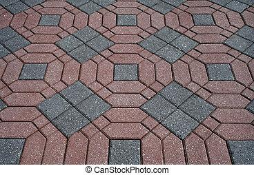 decorativo, patterned, tijolo, pátio