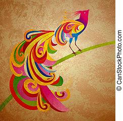 decorativo, pavão, (peafowl), grunge, sentando, ilustração, ...