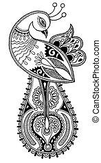 decorativo, pavão, pretas, étnico, branca, desenho
