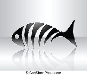 decorativo, pez, esqueleto