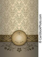 decorativo, plano de fondo, con, elegante, frame.