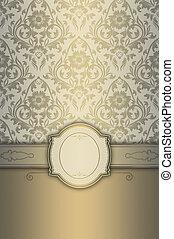 decorativo, plano de fondo, con, elegante, marco, y, floral, patterns.