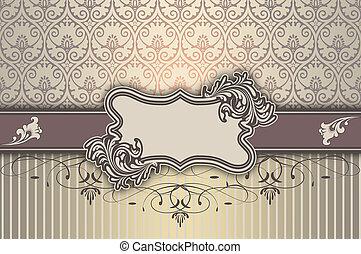 decorativo, plano de fondo, con, elegante, marco, y, patterns.