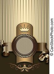 decorativo, plano de fondo, con, elegante, marco, y, ribbon.