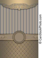 decorativo, plano de fondo, con, oro, patrones, y, elegante, frame.