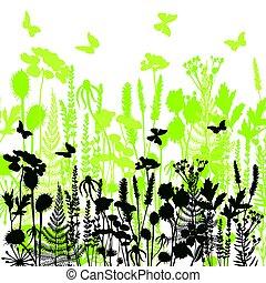 decorativo, plantas, diferente, prado, silhuetas, flores, selvagem