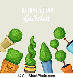 decorativo, plants., giardino, albero, bosso, topiary, vasi fiori