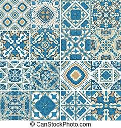 decorativo, portugués, azulejos, conjunto, ilustración, azulejos., resumen, cerámico, mano, tradicional, fondo., vector, florido, dibujado, mandalas, tiles., típico, azulejos