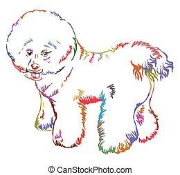 decorativo, posición, bichon, colorido, perro, ilustración,...