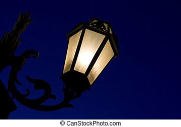 decorativo, postede farol, noche