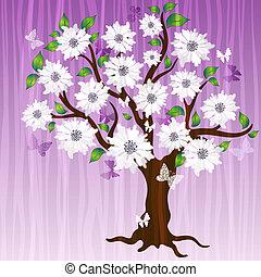 decorativo, primavera, albero