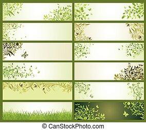 decorativo, primavera, bandeiras, verde, floral