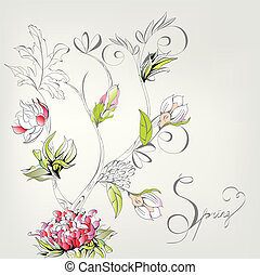decorativo, primavera, tarjeta