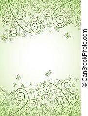 decorativo, primavera, verde, bandiera