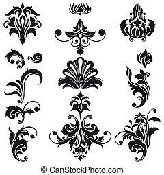 decorativo, projeto floral, elementos