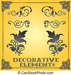 decorativo, projeto floral, elementos, e, ornamentos