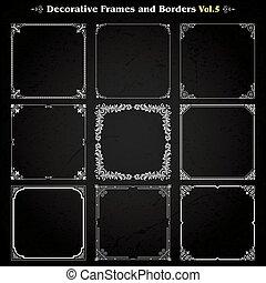 decorativo, quadrado, vetorial, jogo, 5, bordas, fronteiras
