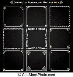 decorativo, quadrado, vetorial, jogo, 6, bordas, fronteiras