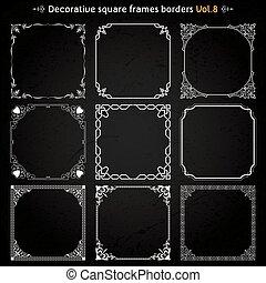 decorativo, quadrado, vetorial, jogo, bordas, 8, fronteiras