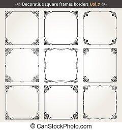 decorativo, quadrato, vettore, set, 7, cornici, profili di fodera