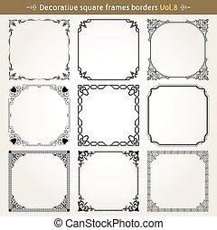 decorativo, quadrato, vettore, set, cornici, 8, profili di fodera