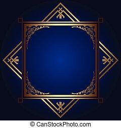 decorativo, quadro, 2811, fundo, ouro