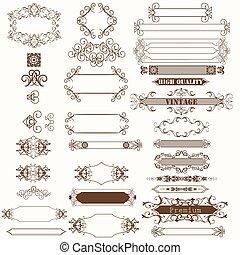 decorativo, quadro, cobrança, flourishes, vetorial, design.eps