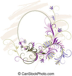 decorativo, quadro, com, floral, ornamento