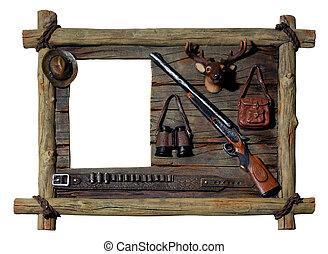decorativo, quadro, frame madeira, caçador, tema