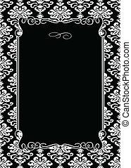 decorativo, quadro, vetorial, pretas