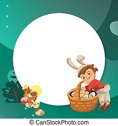 decorativo, ragazzo, poco, o, caccia, illustrazione,...