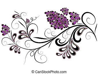 decorativo, rama, con, lila, flor
