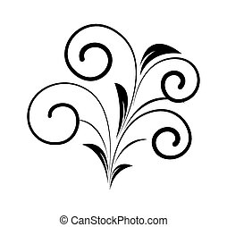 decorativo, redemoinho, forma, floral, pretas