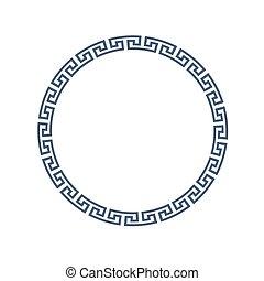 decorativo, redondo, quadro, para, desenho, em, grego, estilo