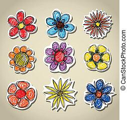 decorativo, resumen, flores, conjunto