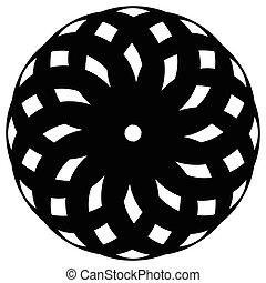 decorativo, resumen, pattern., elemento, geométrico, circular redonda