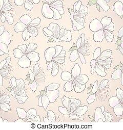 decorativo, riccio, hand-drawn, seamless, flowers., fondo, floreale