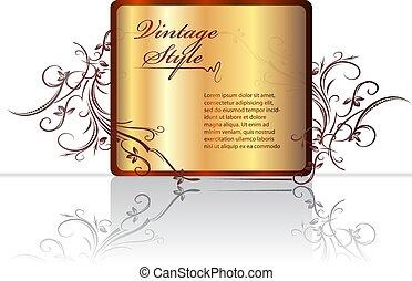 decorativo, riflessione, oro, cornice, text., vector., floreale, scudo