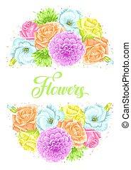 decorativo, romantico, immagine, invito, inviti, flowers., delicato, matrimonio, manifesti, cartelle, scheda
