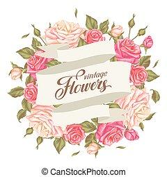 decorativo, romantico, vendemmia, immagine, invito, inviti, flowers., roses., retro, matrimonio, manifesti, cartelle, scheda
