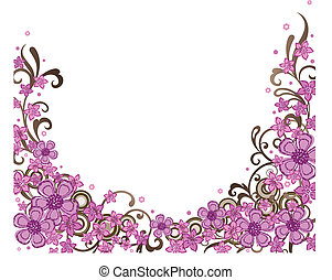 decorativo, rosa, confine floreale