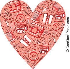 decorativo, rosa, corazón, con, diferente, arte, costura, herramientas